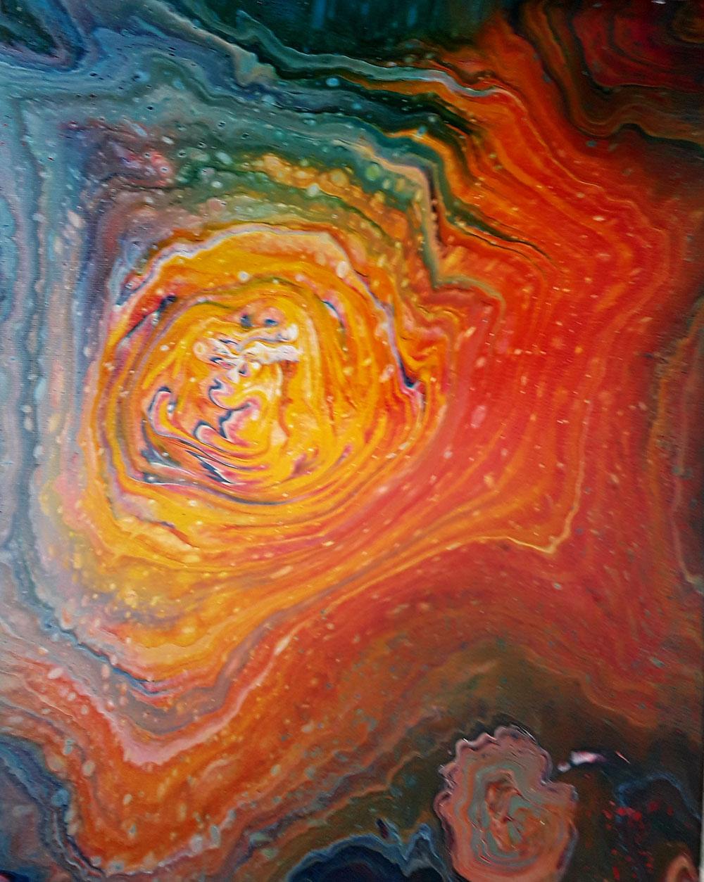 57 Sol | Pintura Acrílica Fluida, Abstracta Y Conceptual
