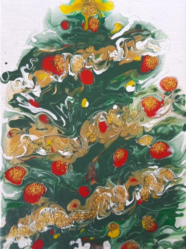 72 Arbol de Navidad | Pintura Acrílica Fluida, Abstracta Y Conceptual