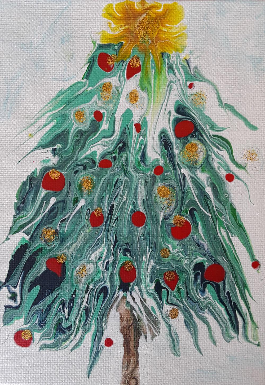 74 Arbol de Navidad Nicki | Pintura Acrílica Fluida, Abstracta Y Conceptual