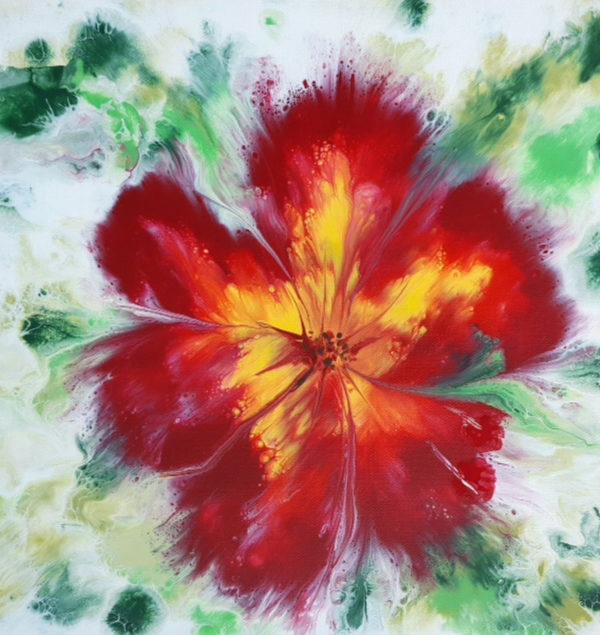 Flor Abstracta Con Pinturas Acrílicas
