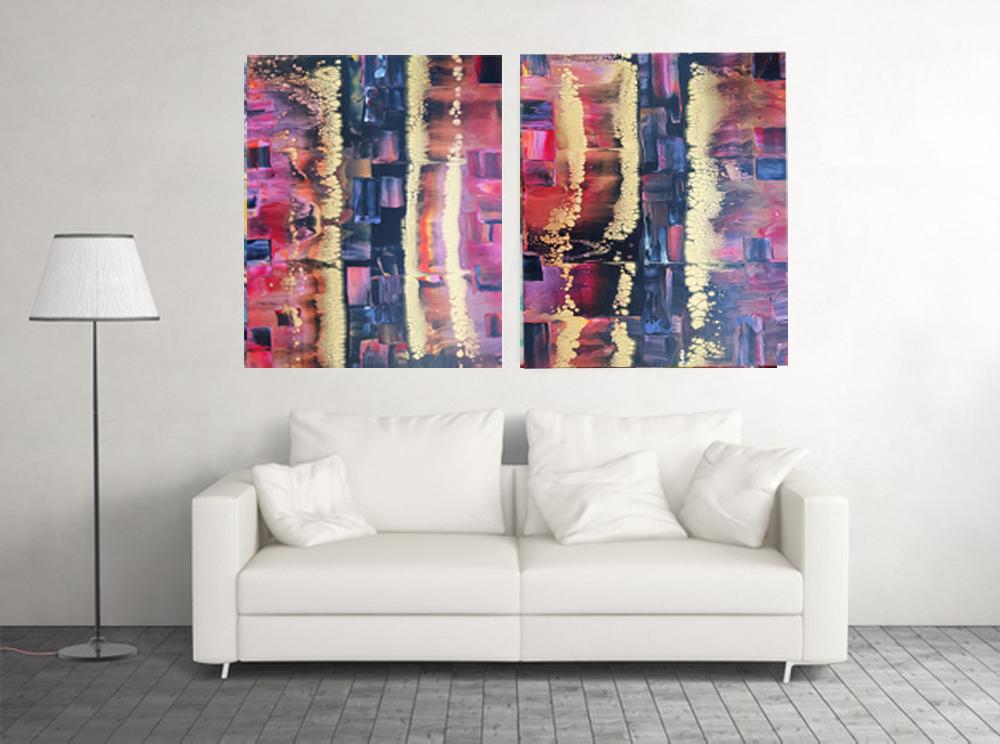 sala con diptico abstracto