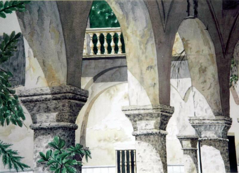 Arcos de fachada en acuarela