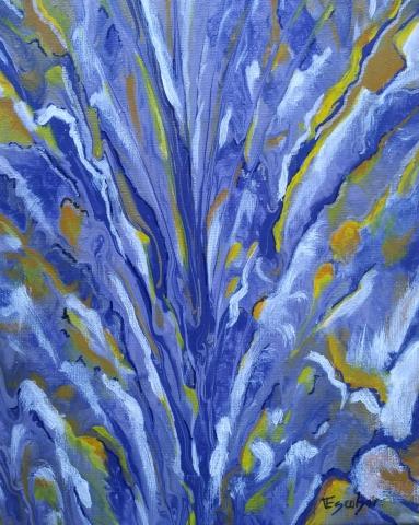 Pintura acrílica fluida, abstracta y conceptual.