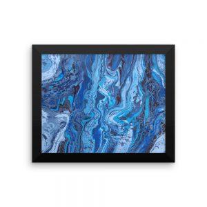 Obra de arte en acrilico fluido enmarcada